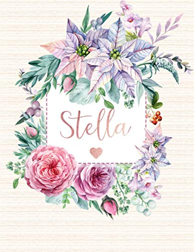 Stella: Personalized Floral Journal with Pink Gold: Panda Studio