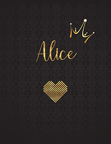 Alice: Personalized Black XL Journal with Gold: Panda Studio