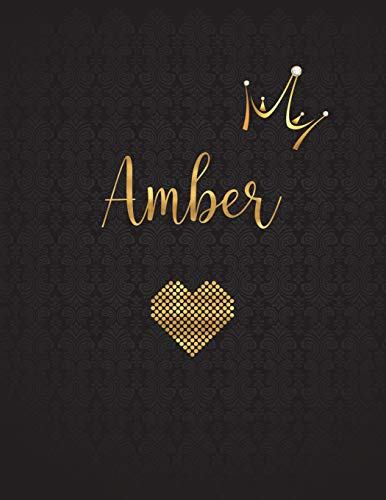 Amber: Personalized Black XL Journal with Gold: Panda Studio