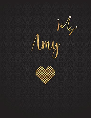 Amy: Personalized Black XL Journal with Gold: Panda Studio