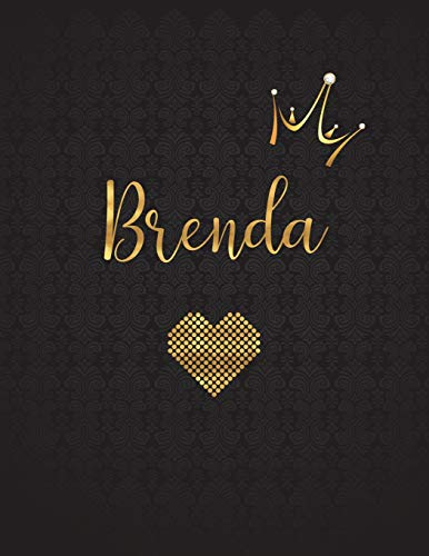 Brenda: Personalized Black XL Journal with Gold: Panda Studio