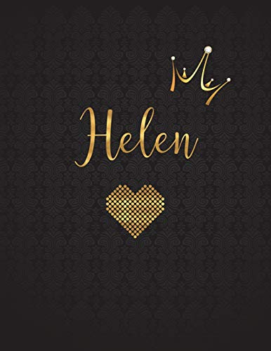 Helen: Personalized Black XL Journal with Gold: Panda Studio