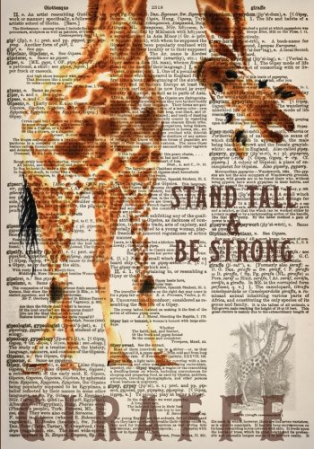 Watercolor Giraffe Dictionary Art 7x10 Inch Ruled Notebook: Classic Notebook with Stand Tall and Be...