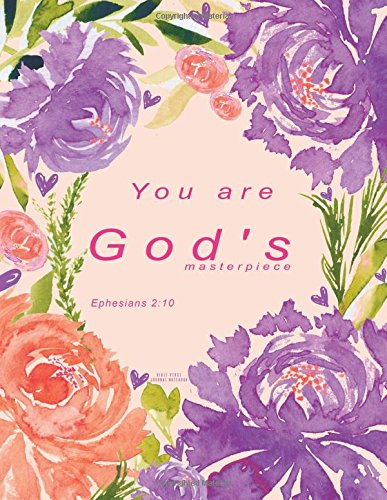 Bible Verse Journal Notebook: Purple Floral Christian Journal - You are God's masterpiece. ...