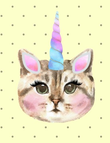 Caticorn Journal Notebook: 7.44 x 9.69 - 200 Pages - School Students Teacher Office: Rengaw ...