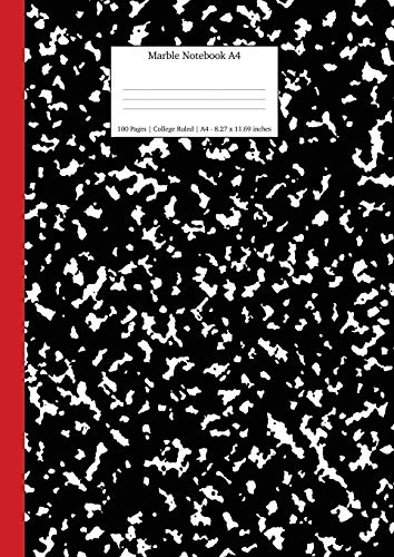 9781989790588: Marble Notebook A4: Black and Red Spine College Ruled Journal: 13 (School Exercise Books a4)