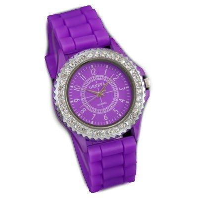 9782008310107: Montre-Femme- strass - Sport- Silicone-Violette