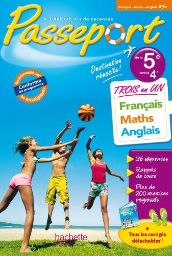 9782011603401: Passeport - Français-Maths-Anglais de la 5e à la 4e