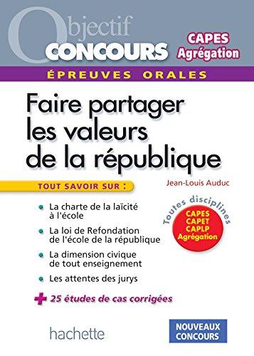 9782011612236: Les valeurs de la République aux concours - Epreuve orale de mise en situation professionnelle