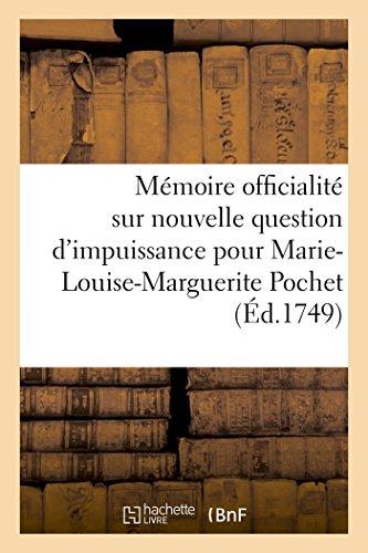 Memoire En L Officialite Sur Nouvelle Question: Sans Auteur