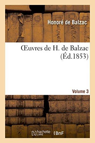 Oeuvres de H. de Balzac. Vol. 3.: de Balzac-H