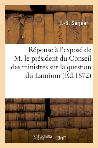 Réponse à l'exposé de M. le président: J.-B. Serpieri