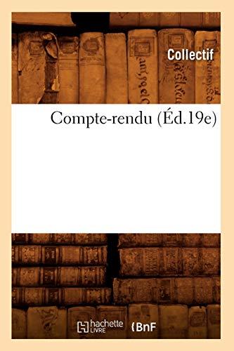 Compte-Rendu (Ed.19e): Collectif