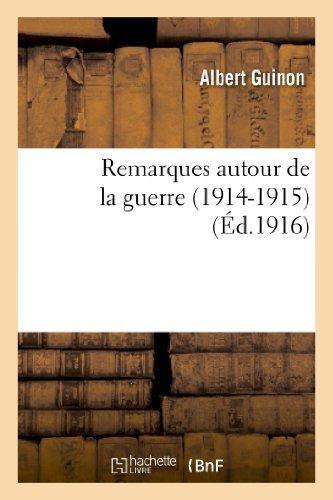 9782012801608: Remarques autour de la guerre (1914-1915) (Philosophie) (French Edition)