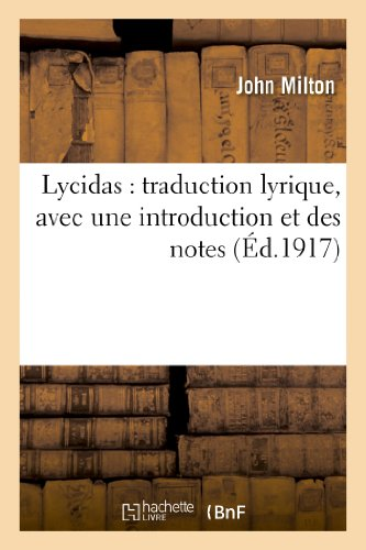 9782012921856: Lycidas : traduction lyrique, avec une introduction et des notes