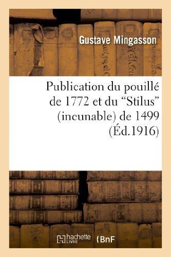 Publication du pouillé de 1772 et du: Gustave Mingasson