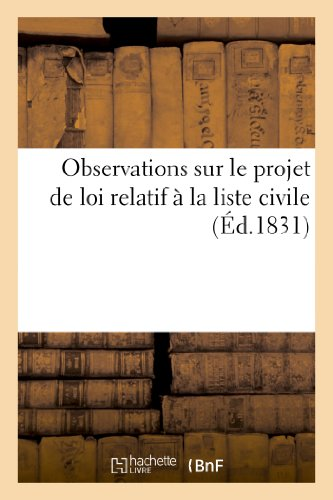 9782013190176: Observations Sur Le Projet de Loi Relatif a la Liste Civile, Presente Par Le President Du Conseil (Sciences Sociales) (French Edition)