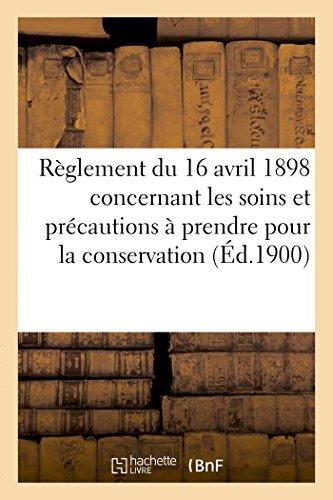 Règlement du 16 avril 1898 concernant les: Sans Auteur
