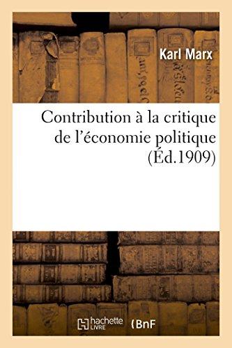 9782013467704: Contribution à la critique de l'économie politique (Sciences Sociales) (French Edition)