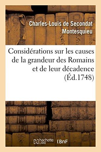 9782013481786: Considérations sur les causes de la grandeur des Romains et de leur décadence