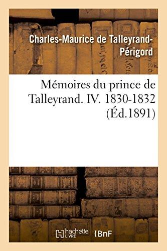 9782013494540: Mémoires du prince de Talleyrand Volume 4 (French Edition)