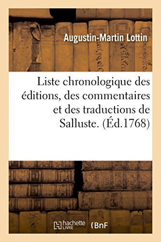 Liste chronologique des (Paperback): LOTTIN-A-M