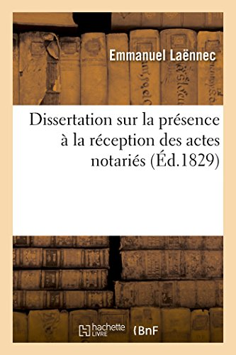 Dissertation Sur La Presence a la Reception: Laennec