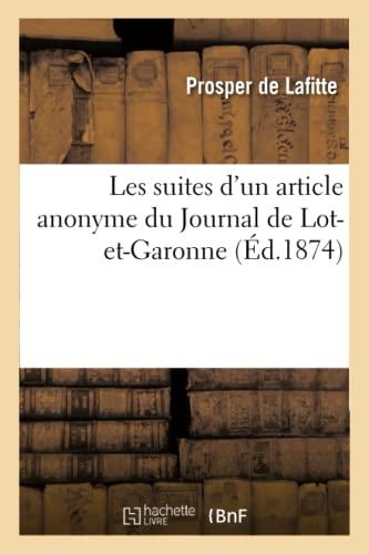 Les Suites D Un Article Anonyme Du: Prosper De Lafitte