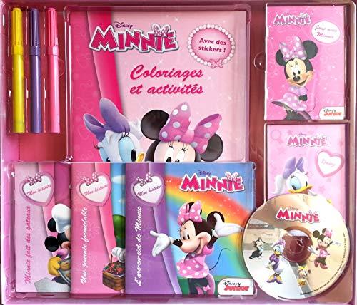 9782014644777: Coffret Minnie : 1 livre coloriages et activités, 2 livrets de cartes, 3 livres d'histoire et 3 feutres (1CD audio)