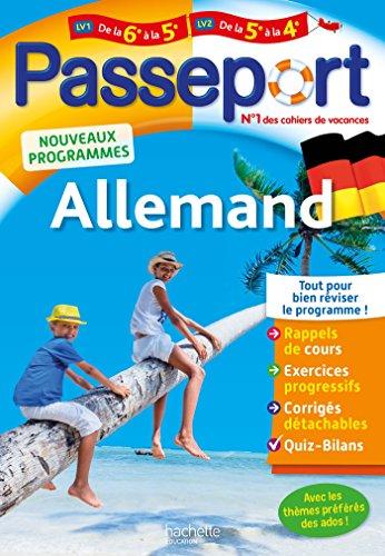 9782017017011: Passeport - Allemand de la 6e à la 5e ou de la 5e à la 4e- Cahier de vacances