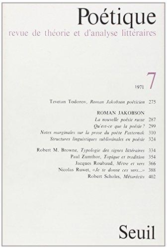 9782020035439: Poétique, numéro 7