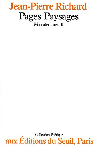 9782020068208: Pages Paysages Microlectures II (Poétique) (French Edition)