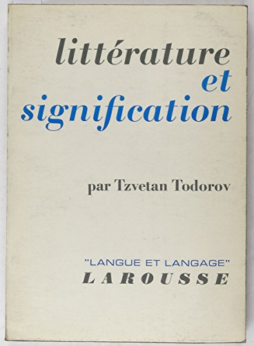 9782030703076: Litterature et Signification