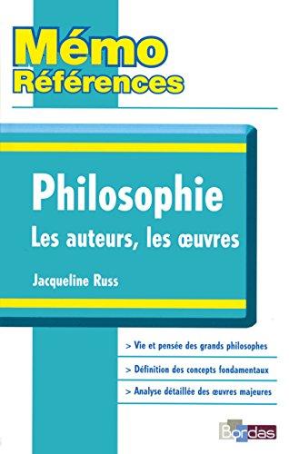 9782047309971: Mémo Références Jacqueline Russ Philosophie Les auteurs, Les oeuvres