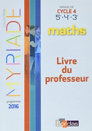 9782047332986: Maths Cycle 4 Myriade : Livre du professeur