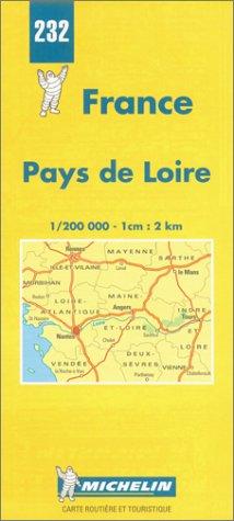9782067002326: Michelin Pays de Loire, France Map No. 232 (Michelin Maps & Atlases)