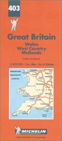Michelin Wales/West Country/Midlands, Great Britain Map No. 403 (Michelin Maps & Atlases): ...