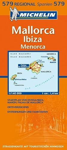 9782067120242: Michelin Regionalkarte Mallorca / Ibiza / Menorca 1 : 140 000: Stadtplan von Eivissa/Ibiza, Palma. Ortsverzeichnis. Entfernungen und Fahrzeiten