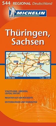 9782067132061: Michelin Regionalkarte Thüringen / Sachsen 1 : 300 000: Stadtpläne: Dresden, Leipzig, Erfurt. Register auf der Rückseite. Entfernungen und Fahrzeiten