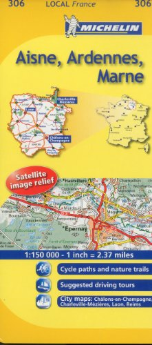 9782067133617: Michelin Map France: Aisne, Ardennes, Marne 306 (1:150K) (Michelin Local Maps) (English and French Edition)