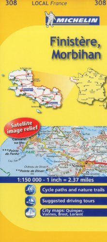 9782067133624: Michelin Map France: Finistre, Morbihan 308 (Maps/Local (Michelin)) (English and French Edition)