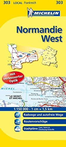 9782067134089: Michelin Localkarte Normandie West 1 : 150 000: Radwege und autofreie Wege, Routenvorschläge, Stadtpläne: Caen, Saint-Lo, Cherbourg-Octeville