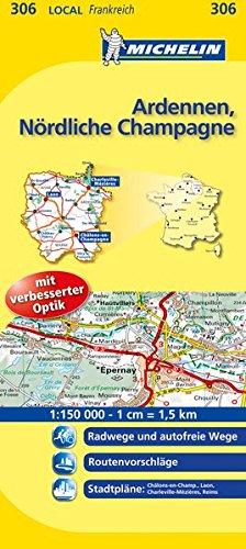 9782067134102: Michelin Localkarte Ardennen - Nördliche Champagne 1 : 150 000: Radwege und autofreie Wege. Stadtpläne: Chalons-en-Champagne, Charleville-Mézières, Laon, Reims
