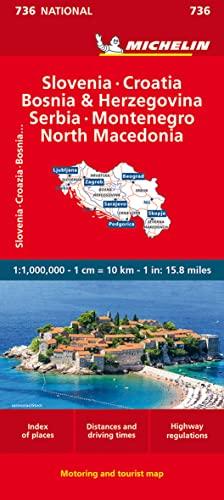 9782067171947: Michelin Slovenia Croatia Bosnia-Herzegovina Yugoslavia Former Yug. of Macedonia Map 736 (Maps/Country (Michelin))
