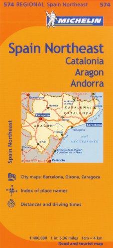 9782067175150: Michelin Spain: Northeast Catalonia, Aragon, Andorra, Map 574 (Maps/Regional (Michelin))