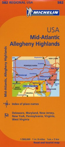 9782067175228: Michelin USA: Mid-Atlantic, Allegheny Highlands Map 582 (Maps/Regional (Michelin))