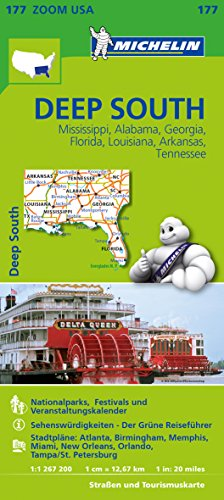 9782067190542: Michelin Zoomkarte Deep South 1 : 1 267 200: Missisippi, Alabama, Georgia, Florida, Louisiana, Arkansas, Tennessee