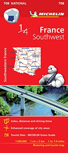 9782067200715: Southwestern France - Michelin National Map 708 (Michelin National Maps)