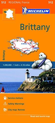 9782067209619: Brittany - Michelin Regional Map 512: Map (Michelin Regional Maps)