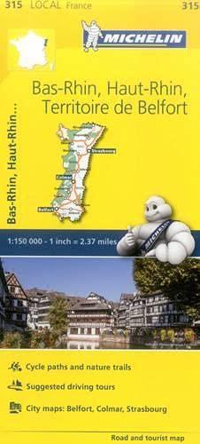Bas-Rhin, Haut-Rhin, Territoire de Belfort, France Local Map 315